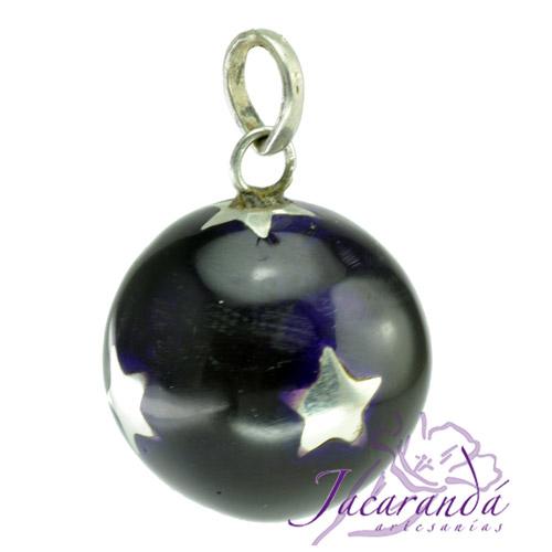 Llamador de ángeles Plata 925 con diseño Estrellas color Negro 21 mm