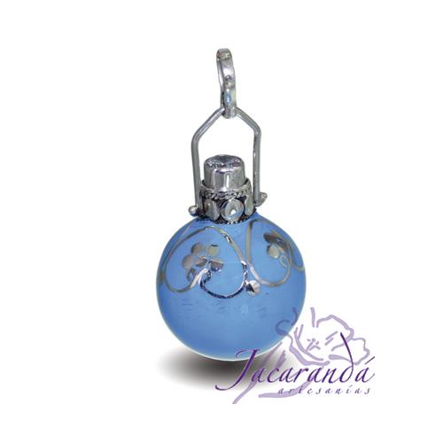 Llamador de ángeles Plata 925 con diseño Flores y Circón color Turquesa