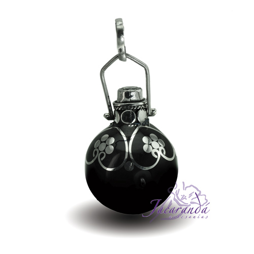 Llamador de ángeles Plata 925 con diseño Con Circón y flores color Negro