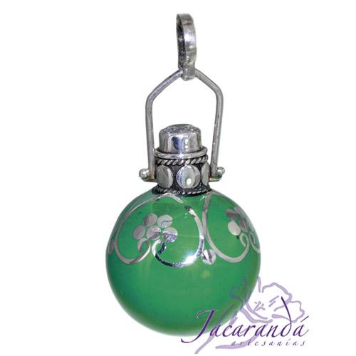 Llamador de ángeles Plata 925 con diseño Flores y Circón color Verde