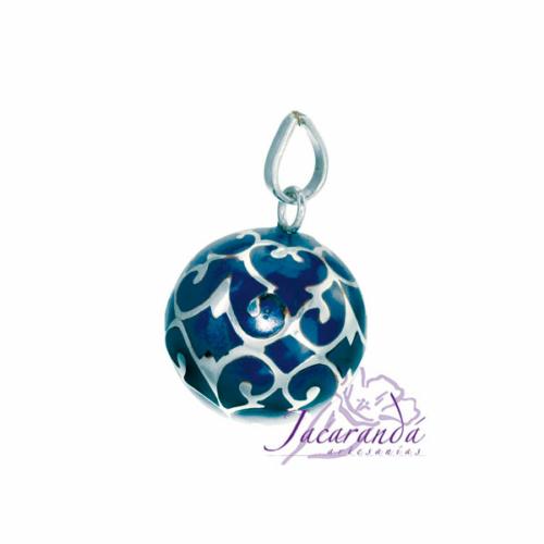 Llamador de ángeles Plata 925 con diseño Arabescos color Azul 15 mm