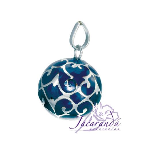 Llamador de ángeles Plata 925 con diseño Arabescos color Azul