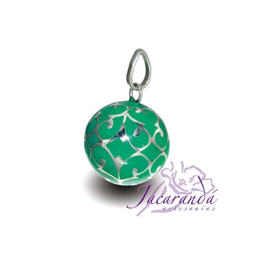 Llamador de ángeles Plata 925 con diseño Arabesco color verde
