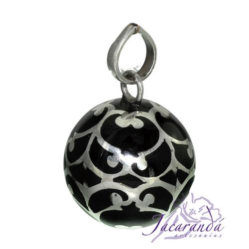 Llamador de ángeles Plata 925 con diseño arabescos color Negro