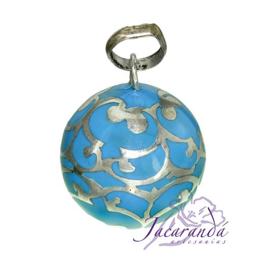 Llamador de ángeles Plata 925 con diseño Arabescos color Turquesa