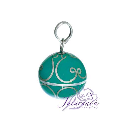 Llamador de ángeles Plata 925 con diseño Arabescos color Verde-Turquesa