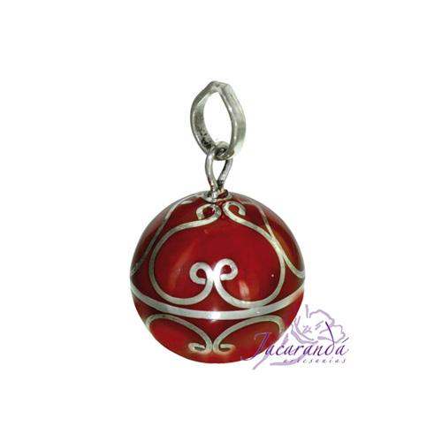 Llamador de ángeles Plata 925 con diseño Arabescos color Rojo 15 mm