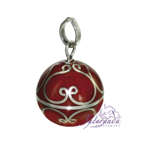 Llamador de ángeles Plata 925 con diseño Arabescos color Rojo