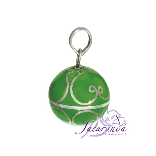 Llamador de ángeles Plata 925 con diseño Arabescos color Verde