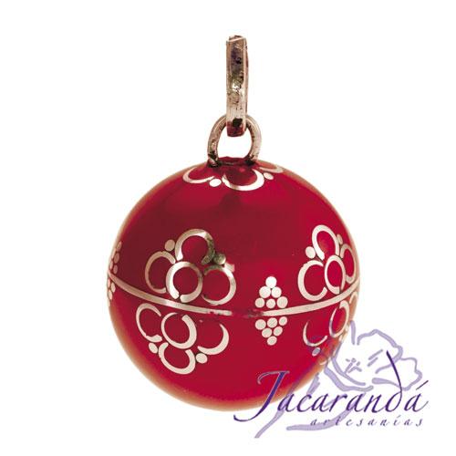 Llamador de ángeles Plata 925 con diseño Flores color Rojo