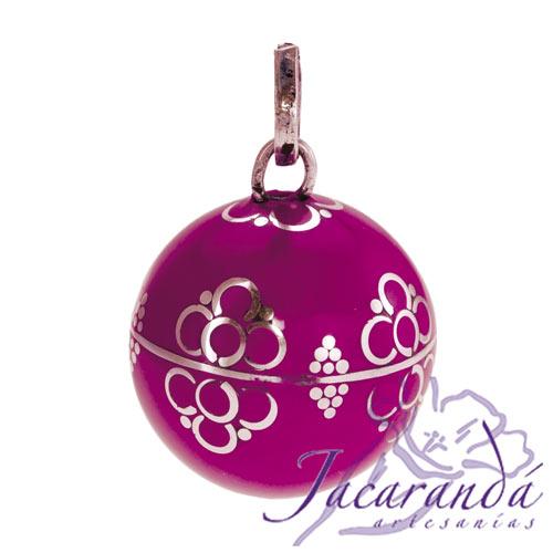 Llamador de ángeles Plata 925 con diseño Flores color Rosa