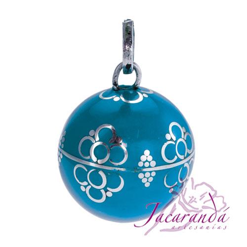 Llamador de ángeles Plata 925 con diseño Flores color Turquesa