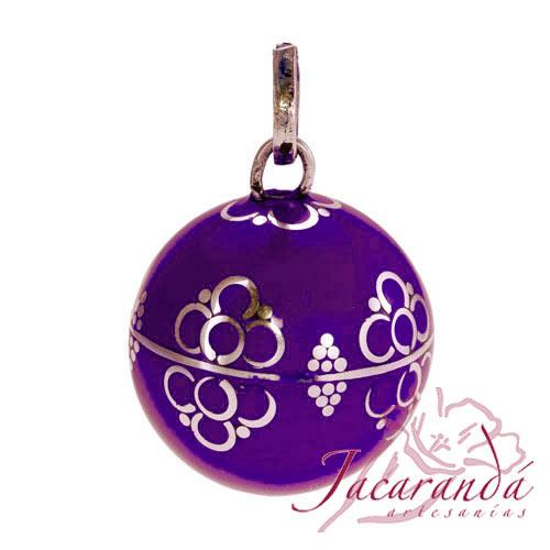 Llamador de ángeles Plata 925 con diseño Flores color Purpura