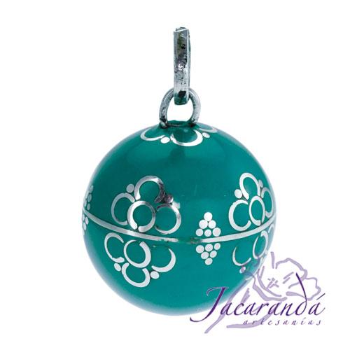 Llamador de ángeles Plata 925 con diseño Flores color Verde-Turquesa