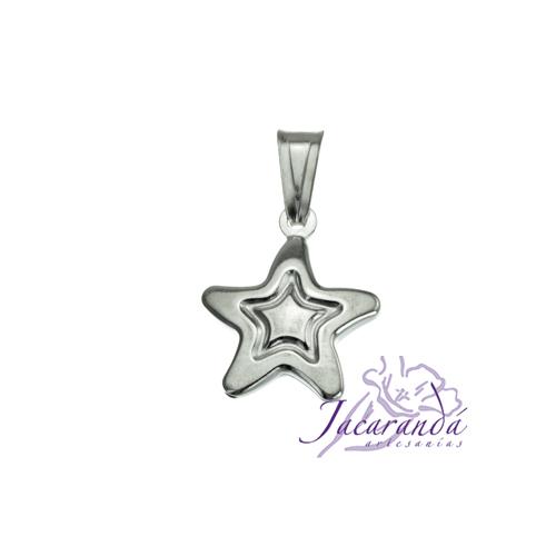 Colgante de Plata 925 liso diseño estrella doble 15 mm