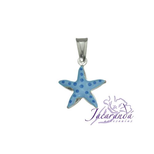 Colgante de Plata 925 con esmalte de colores diseño estrella de mar 15 x 15 mm