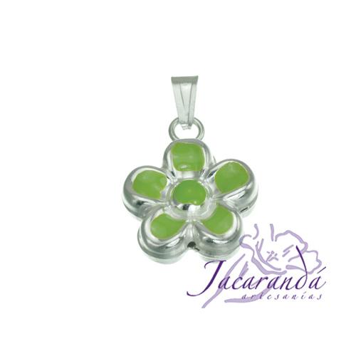 Colgante de Plata 925 con esmalte de colores diseño Margarita verde 20 mm