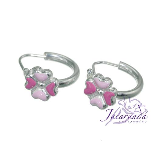 Aros de Plata 925 con esmalte de colores diseño Flores Rosa 8 mm