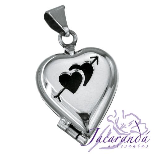 Colgante de plata 925 relicario porta foto diseño Corazón y Cupido calado