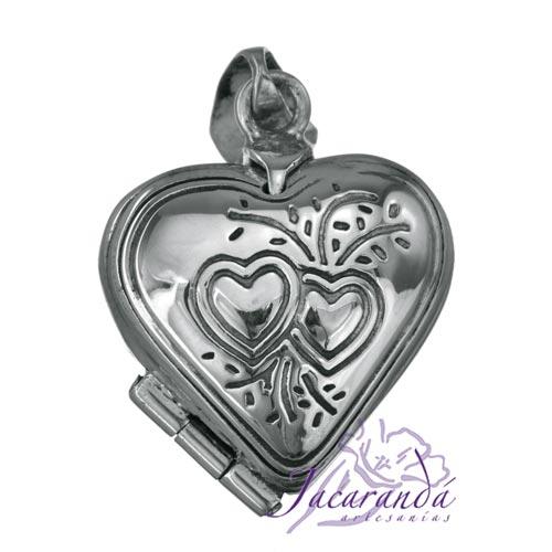 Colgante de plata 925 relicario porta foto diseño Corazón y Flores