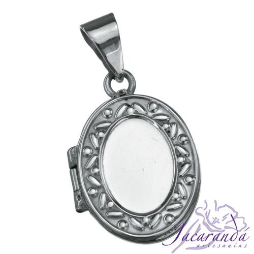 Colgante de plata 925 relicario porta foto diseño Oval decorado