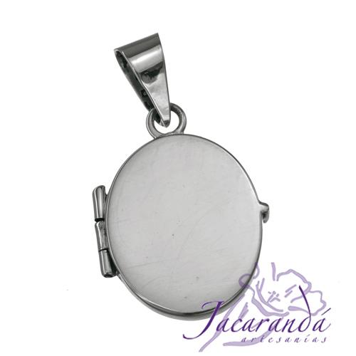 Colgante de plata 925 relicario porta foto diseño Oval liso