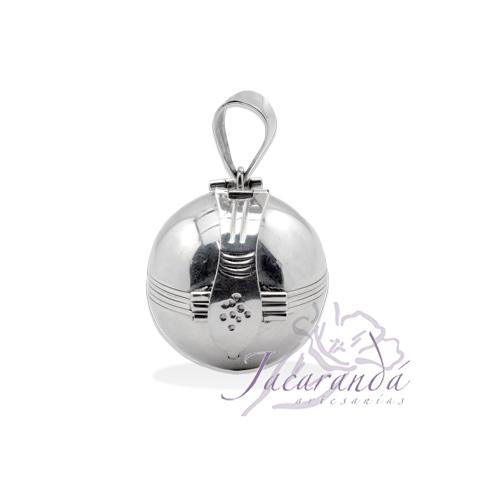 Colgante de plata 925 relicario esfera con base para 6 fotos 18 mm