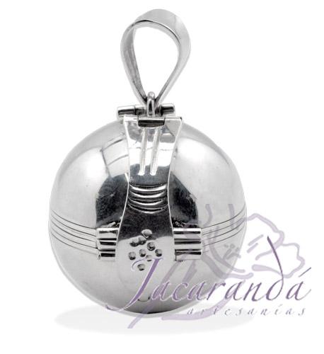 Colgante de plata 925 relicario esfera con base para 6 fotos 28 mm