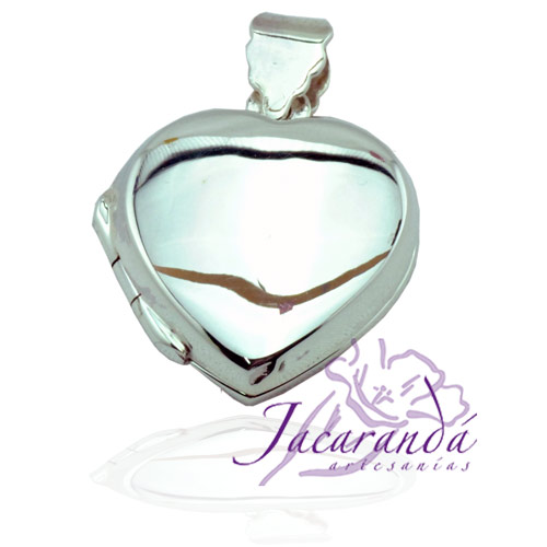 Colgante de plata 925 relicario Corazón liso con base para 2 fotos 17 mm