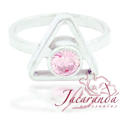 Anillo de plata 925 con circón color cristal rosa diseño Pirámide 16 mm