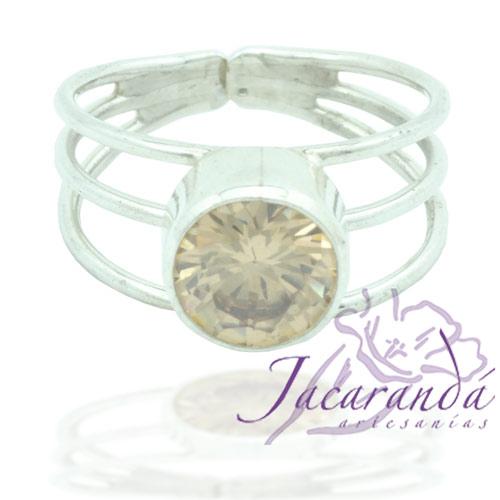 Anillo de plata 925 con circones color Citrino 18 mm (Ajustable)
