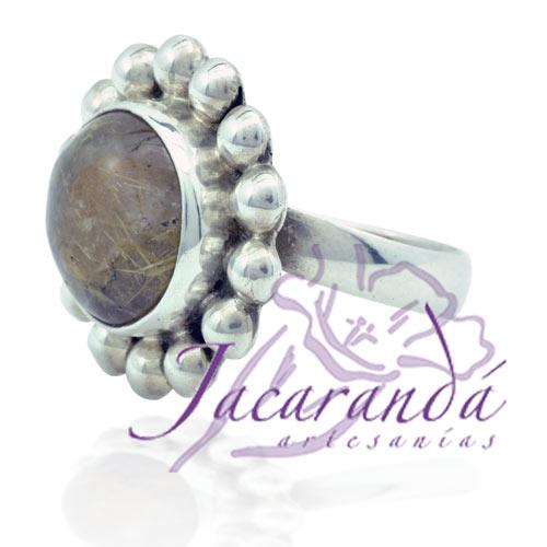 Anillo de plata 925 ley con piedra Citrino media perla