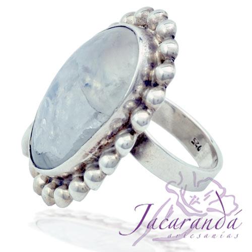 Anillo de plata 925 ley con piedra de la luna cabujón y casquillas