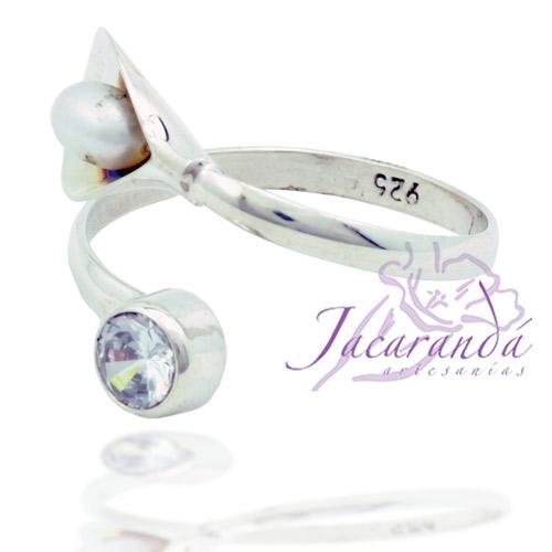 Anillos de plata 925 Strass facetadas color Cristal y Perla de Rio 18 mm