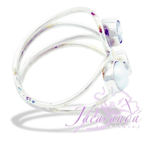 Anillos de plata 925 2 Strass facetadas color Cristal y Perla de Rio 20 mm