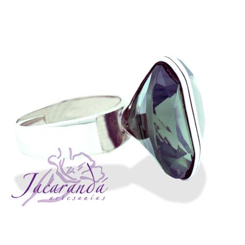 Anillos de plata 925 Strass facetadas color Cristal Fume diseño alianza 17 mm (Ajustable)