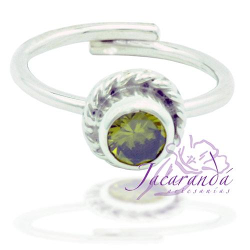 Anillo de plata 925 Strass color Cristal Ámbar 17 mm (Ajustable)