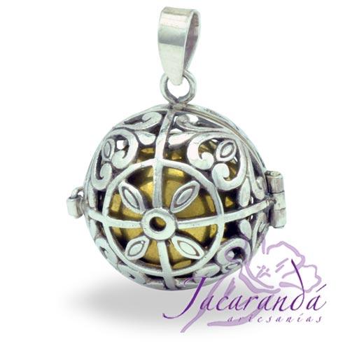 Llamador de ángeles de plata 925 con diseño de Flor 4 hojas en 20 mm