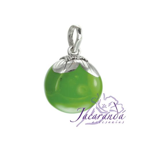Llamador de ángeles Plata 925 con diseño Flor color Verde 15 mm