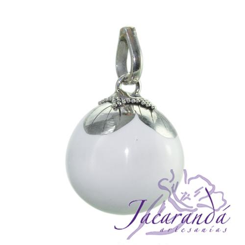 Llamador de ángeles Plata 925 con diseño Flor color Blanco 18 mm
