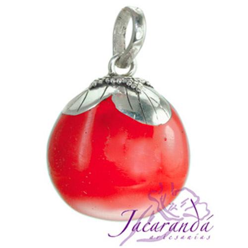 Llamador de ángeles Plata 925 con diseño Flor color Rojo 21 mm