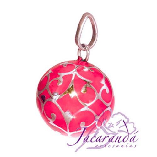Llamador de ángeles Plata 925 con diseño Arabescos color Rosa 18 mm