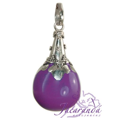 Llamador de ángeles Plata 925 con diseño cono color Purpura 21 mm