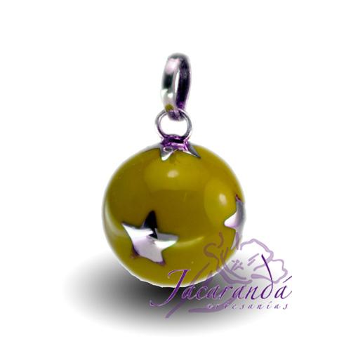 Llamador de ángeles Plata 925 con diseño Estrellas y lunas color Amarillo 15 mm