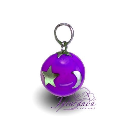 Llamador de ángeles Plata 925 con diseño Estrellas color Purpura 15 mm