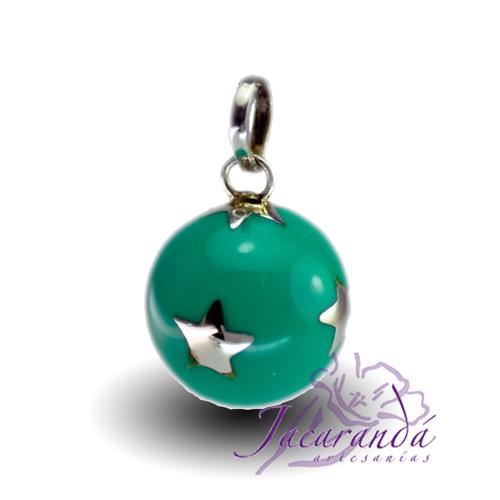 Llamador de ángeles Plata 925 con diseño Estrellas color Verde 18 mm