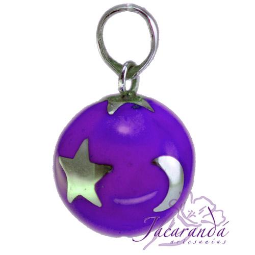Llamador de ángeles Plata 925 con diseño Estrellas y lunas color Purpura 21 mm