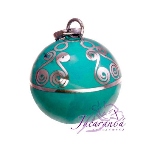 Llamador de ángeles Plata 925 con diseño Espirales color verde