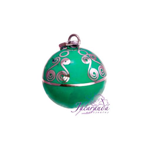 Llamador de ángeles Plata 925 con diseño Espirales color Verde-Turquesa 15 mm
