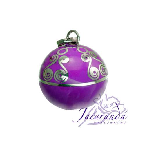 Llamador de ángeles Plata 925 con diseño Espirales color Purpura 15 mm